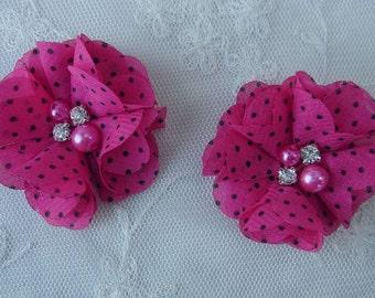 2 pc 2 inch Fuchsia Chiffon Polka Dot Fabric Flower  Applique Beaded w Pearl Rhinestone Bridal Baby Hair Accessory