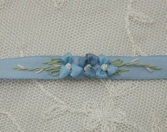 34 Inches Hand Embroidered French BLUE Satin Ribbon Flower Trim Baby Doll Christening Gown