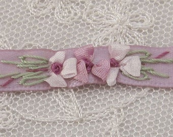 Hand Embroidered Mauve Satin Ribbon Flower Trim Baby Doll Christening Gown
