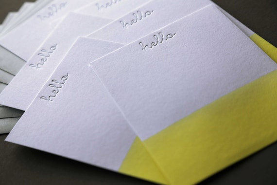 Hello Yellow Dip Dye Letterpress A2 Flat Note Cards + Blank Envelopes, qty 6