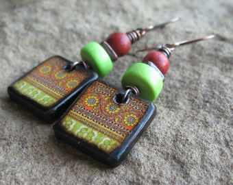Orange and Lime Floral Pattern Wood Tile Earrings