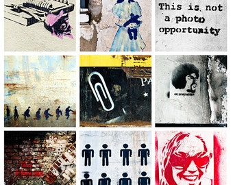 Digital Collage Sheet 2 inch square Graffiti Street Art Stencil Photos for Crafts, Scrapbook Jewellery instant download pdf jpg printable