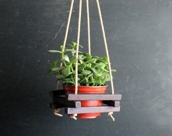 Little Vintage Planter Hanger for Three Inch Pot or Air Plant, Rustic Wooden Holder