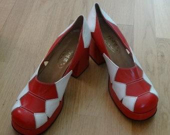 Red white 70s vintage platform shoes eu 41 costume drag mod disco look