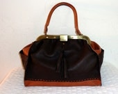 Handmade Doctors style Frame bag  soft  Deerskin in brown and pumpkin cow hide lacing stitching accents