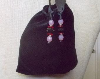 """Reversible Black Velvet Pink Rosebud Satin Pouch Large Size 12.5 x 10 cm. (5"""" x 4"""") OlyTeam"""