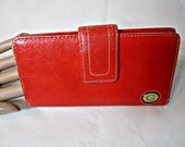 Red leather wallet cards and change Fossil women wallet