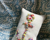 Bohemian Anchor Mini Pillow Hand Embroidered