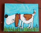 Cute Doggy Original Canvas Painting Ready to Ship