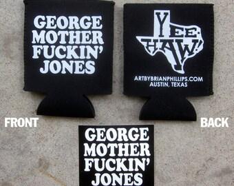 George Jones Beer Coolie Can Cozy Sticker Combo Texas Art by Brian Phillips Beer