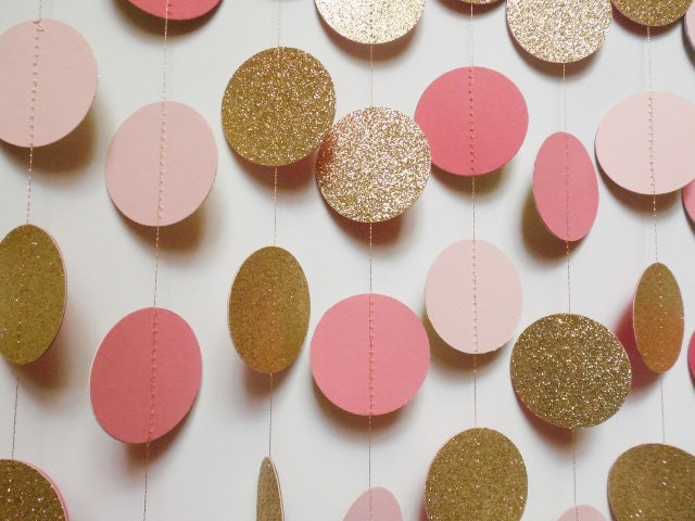 Blush Pink Coral and Gold Glitter Circle Garland by ThePartyHaven