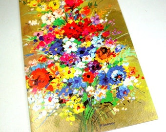 Retro Birthday Greeting Card, Happy Birthday, Bouquet of Flowers, Fantussy, Unused, Unsigned, Envelope Included