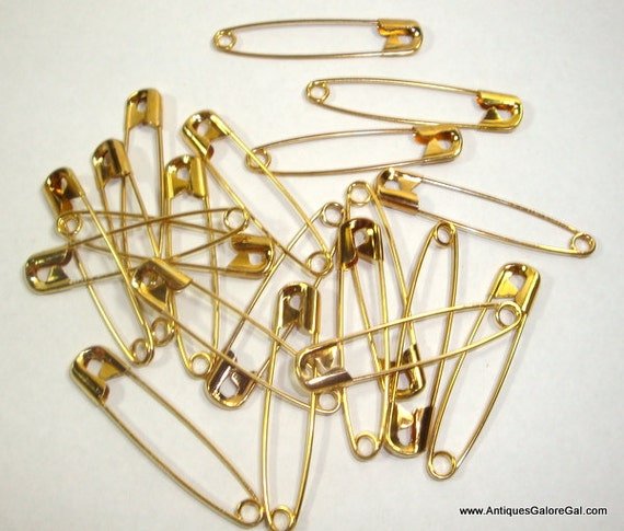 Gold tone crafting safety pins metal fastener set of 20 for Safety pins for jewelry making