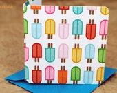 Blank Mini Card Set of 10, Mini Popsicle Design with Contrasting Stripe Pattern on the Inside, Aqua Envelopes, mad4plaid