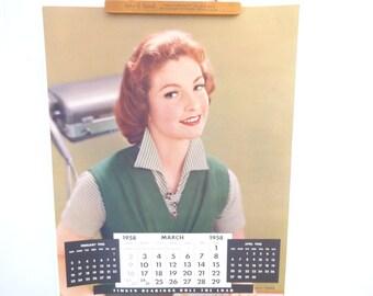Vintage Victor Keppler Photography Calendar Poster..for Timken Bearings March 1958..Vintage Advertising Calendar