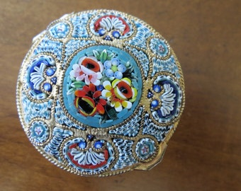 Vintage Pill Box Micro Mosaic Glass Container