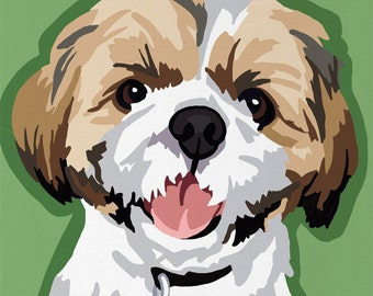 Shih Tzu Pop Art Dog Painting Print Colorful