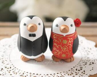 Chinese Wedding Cake Topper - Medium Penguins