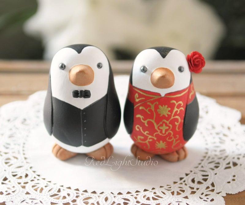 Chinese Wedding Cake Topper Medium Penguins
