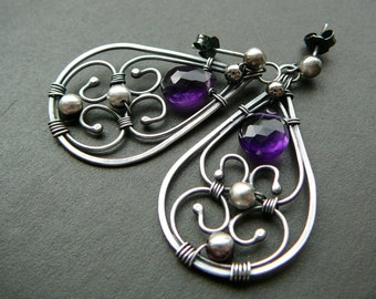 Amethyst  earrings  - wire wrapped sterling silver and amethyst