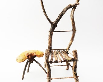 Primitive Mini Twig Chair, Fairy Chair, Fae Furniture, Rustic Wild Miniature Pegged Chair