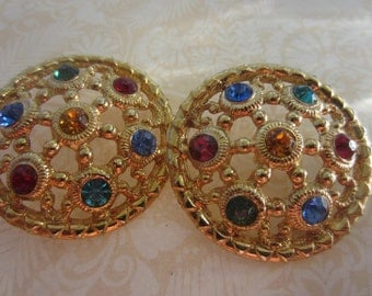 Vintage Button -2 matching beautiful large, multi color rhinestone embellished flower design, antique gold finish metal (lot july 118 )