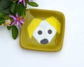Fused glass art plate, small, square, dog, pet, whimsical, colors, white, yellow, green brown