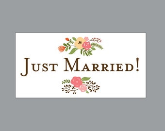 Just Married Wedding Car Magnets - Car Magnet Vintage Antique Victorian Country Chic Rustic Flower Garden Just Married Wedding Car Magnets