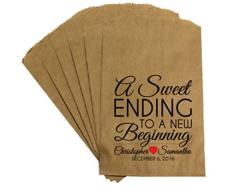 """Wedding Favor Candy Bags - Rustic Victorian """"A Sweet Ending"""" Wedding Reception Kraft Candy Bags Favor Bags Treat Bags"""