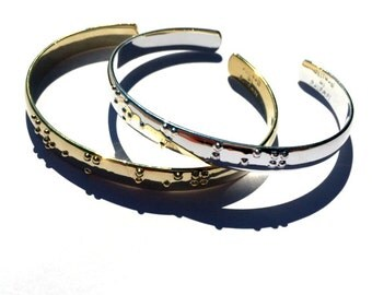 Dream Big Silver Braille plated and Gold plated cuff bracelets