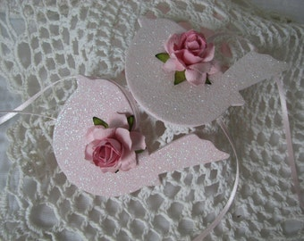 Pink Bird Ornaments Hand Painted Shabby chic Glitter Rose Set of 2 Wood
