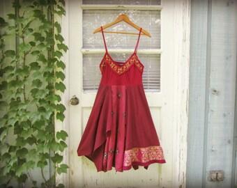S-M Magenta Ethnic Beaded Upcycled Bohemian Summer Dress// Burgundy Berry Dresss.. emmevielle