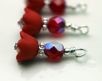 Red Baby Bell Lucite Flower with Czech Crystal Bead Dangle Charm Drop Sets