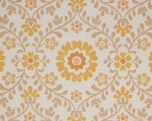 1960's Vintage Wallpaper Orange Floral Geometric on White--Made in West Germany