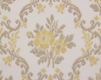 1960's Vintage Wallpaper Damask Yellow Flower Bouquets on White--Made in England