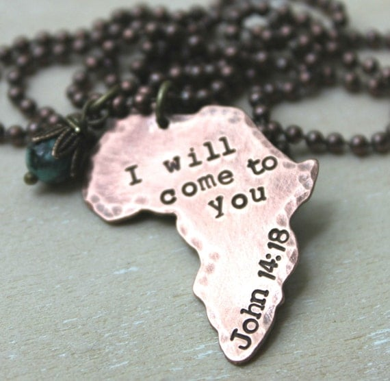 africa map outline necklace