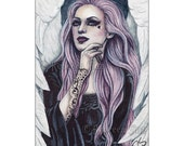 Mauve Limited Edition ACEO Print Fantasy Angel Bubblegoth Gothic Artist Trading Cards ATC