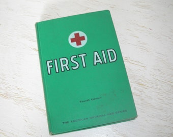 first aid vintage green book 1969 - fourth edition american national red cross - shabby cottage chic - home library decor reference book