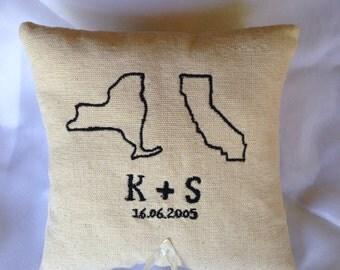 Long distance wedding bearer pillows, Personalized wedding ring bearer pillow , personalized ring pillow , Wedding ring bearer pillow