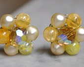 Yellow Crystal and Pearl Clip Back Earrings