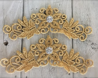 """GOLD VENISE Applique with Rhinestone Center set of 2-6"""" by 2 1/2"""""""