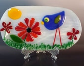 Fused Glass Whimsical Blue Bird and Spring Flower Soap Dish Spoon Rest Dish