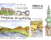 Slovakia to Austria ~ original watercolor