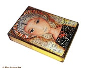 Dorothy Day -  Aceo Giclee print mounted on Wood (2.5 x 3.5 inches) Folk Art  by FLOR LARIOS