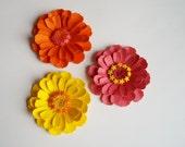 3 Zinnia flowers, paper zinnias, wedding decoration, party decoration, artifical flowers, paper flowers, table decoration, flowers