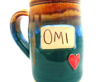 Handmade Pottery Mug  Omi   in Teal   ceramics and pottery  Jewel Pottery