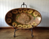 1950s Decopauge Yellow Daisy Vintage Wood Bowl