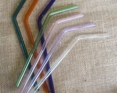 "Bendy Drinking Straws, Hand Blown Glass, Each 8""+ Long, Your Choice of Colors"