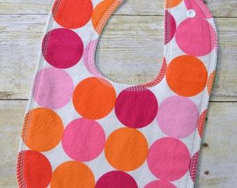 Pink Disco Dots Drooler Bib - Snap - Non wicking fleece back - Middle layer Organic cotton