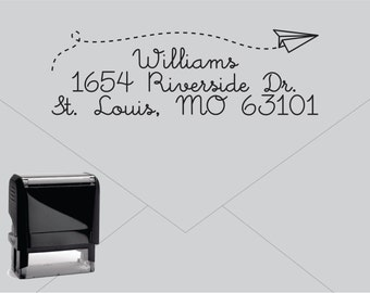 FREE US SHIPPING * Self Inking Return Address Stamp * Custom Address Rubber Stamp (E035) Paper Airplane